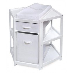 Diaper Corner Baby Changing Table with Hamper and Basket – White