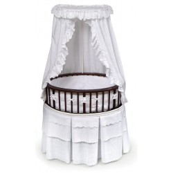 Elite Oval Baby Bassinet with Canopy – Cherry/White
