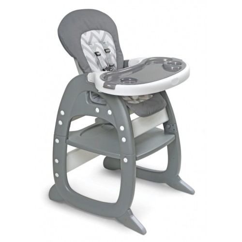 Envee II Baby High Chair with Playtable Conversion – Gray/Chevron