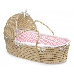 Liner and Sheet Only for Standard Maize Moses Baskets – Pink Chevron