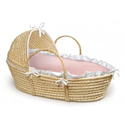Liner and Sheet Only for Standard Maize Moses Baskets – Pink Gingham