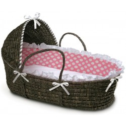 Liner and Sheet Only for Standard Maize Moses Baskets – Pink Polka Dot