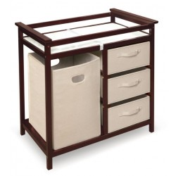 Modern Baby Changing Table with Hamper and 3 Baskets – Cherry