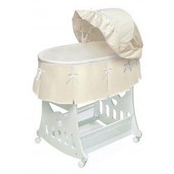 Portable Bassinet n Cradle with Toybox Base and Half Skirt – Ecru