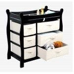 Sleigh Style Baby Changing Table with 6 Baskets – Black