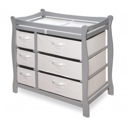 Sleigh Style Baby Changing Table with 6 Baskets – Gray