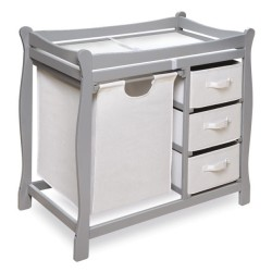 Sleigh Style Baby Changing Table with Hamper and 3 Baskets – Gray