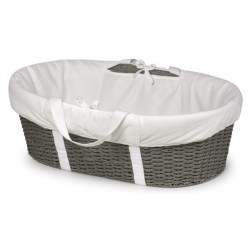 Wicker-Look Woven Baby Moses Basket with Bedding – Gray/White
