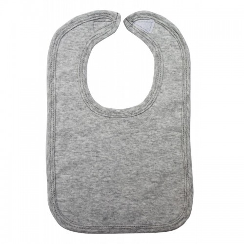 2-Ply Interlock Solid Heather Grey Infant Bib
