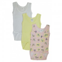 Girl's Rib Knit Variety Sleeveless Tank Top Onezie 3-Pack