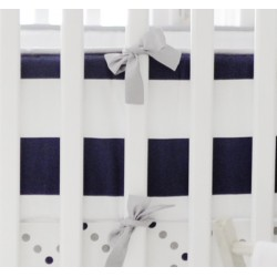 Gray and Navy Stripe Crib Bumper   Out of the Blue Baby Bedding Collection