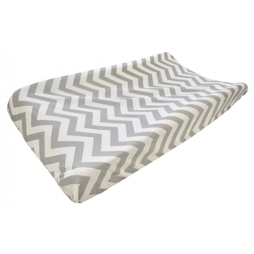 Gray Chevron Changing Pad Cover | Out of the Blue Baby Bedding Collection