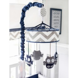 Navy and Gray Owl Crib Mobile | Out of the Blue Baby Bedding Collection